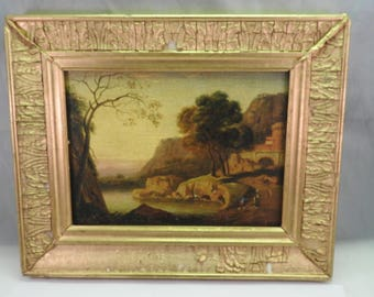 antique signed and dated 1885 miniature painting oil on wood of landscape/seascape ,gilt framed K.Muller