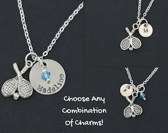 Tennis Necklace Gift Tennis Racket Charm Silver Sports Team Gift Custom Tennis Jewelry • Girls Tennis Coach Gift School Sports