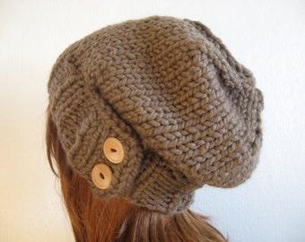 Knit Hat, Knit Women Hat, Slouchy Knit Hat, Cloche Hat, Chunky Wool Hat / KEYSTONE / Taupe