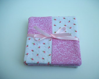 Set of 4 Handmade Cloth Coasters Pink and White Rosebuds