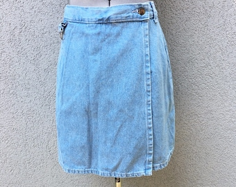 Vintage 90s Light Blue High Waisted Denim Skort, 90s Denim Skirt, Vintage Skort, 90s Women's Clothing, 90s Grunge, Size 8