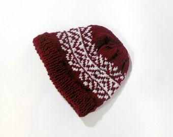 Fair Isle beanie, hand knit wool hat, Icelandic wool hat, winter knit hat, Nordic wool hat, wool knit ski cap, Fair Isle knit hat, wool hat