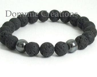 Unisex lava and Hemathite black beaded bracelet