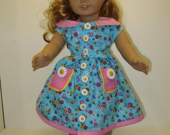 American Girl Doll Skirt & Blouse in Blue with Pink Trim