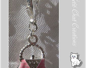 1 CHARM ON LOBSTER CLASP CHARM ROSE LUXURY BAG DOUBLE-SIDED METAL SILVER * V287