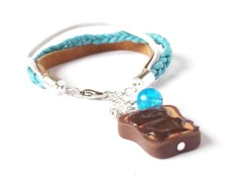 Chocolate Toast Bracelet ( miniature toast miniature food braided bracelet polymer clay toast blue bracelet brown mini food jewelry )