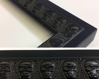 Skull & Webs Picture Frame, Black Picture Frame - 3x5, 4x6, 5x7, 8x10, 11x14, 16x20, 18x24 + Custom Sizes, Black Skulls, Spider Web Frame