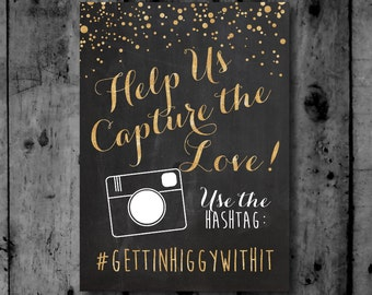 Wedding hashtag sign printable chalkboard if you hashtag