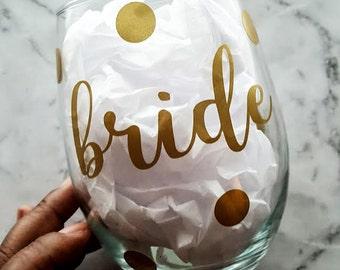 Bride Stemless Wine Glass - 21 oz - Bride Wine Glass - Custom Wine Glass - Wine Glass - Gift for Bride - Wine Gift - Wedding Gift - Bride