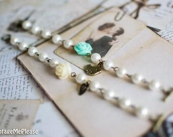 Pearl Bracelet,Flower Girl Gift, Ivory Pearl Bracelet, Flower Bracelet,Bridesmaids Gift, Childrens Bracelet,Toddler Bracelet, Wedding Gift