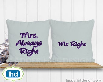 Mr. Right and Mrs. Awlays Right Wedding Embroidery Design SA002