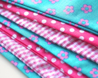 Pink gingham, dots and flowers - Personalised name bunting