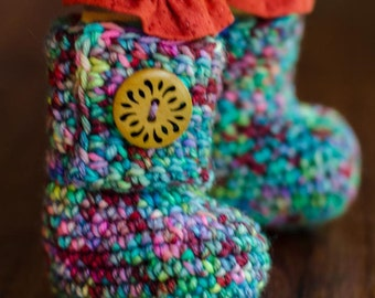 Crochet doll boots with or without buttons