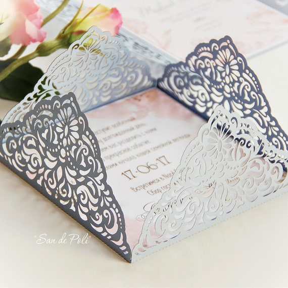 Wedding invitation Card Template Fourfold filigree envelope