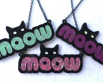Meow necklace in pink purple or mint