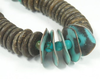 Turquoise Necklace, Genuine Turquoise, Turquoise Jewelry, Natural Beads, December Birthstone, Turquoise Gemstone, Tribal, Southwest, Boho
