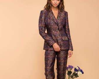 Silk suit retro trousers