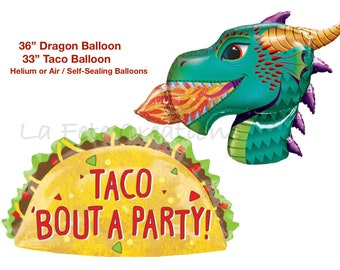 Large Dragon Head Balloon and Large Taco Balloon Taco Bout A Party Dragons Love Tacos Theme Party Dragons and Tacos
