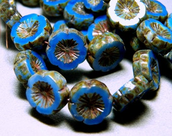 Czech Cornflower Blue Opal with Picasso 15mm Flat Flower Glass Beads (10) 1082-P