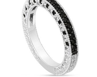 Platinum Black Diamond Wedding Band, Diamond Wedding Ring, Half Eternity Wedding Band, Vintage Engraved Wedding Band, Pave Unique 0.38 Carat