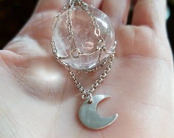 Spirit Quartz Crystal Ball Moon Pendant Crescent Charm On Beautiful Sterling Silver Figaro Chain Or Seude Cord One Of A Kind