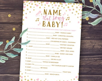 Charming Blush And Gold Baby Shower Girl Printable, Name That Song Baby Game, Music  Trivia