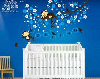 Cherry Blossom tree branch wall decal with cute Monkeys and Name decal for Baby room, nursery