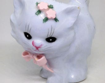 Sweet Very Pale Blue Porcelain Kitty Figurine, Cat Statue, Pretty Kitty with Pink Bow and Flowers, Kitty Statue