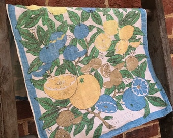 Vintage Mid Century linen tea towel/ fabric/ citrus/ Green, Yellow, White and Blue towel