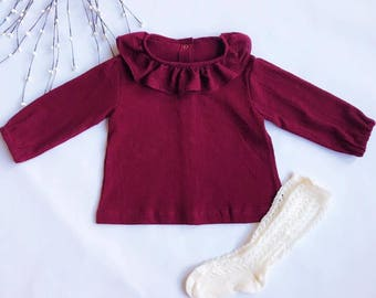 Long Sleeve Top with Frilled Neckline
