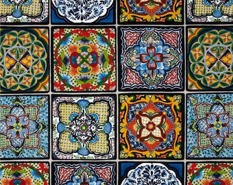 Cotton Fabric Quilting Mexican Tiles Fabric *