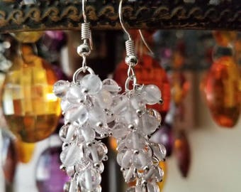 Crystal grape dangle earrings