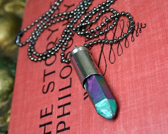 Rainbow Titanium Quartz Crystal Bullet Shell Necklace Electroplated Quartz Gunmetal Chain