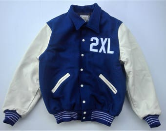 New Price - NOS- 2XL Letterman Jacket Wool and Leather - Size 2 XL