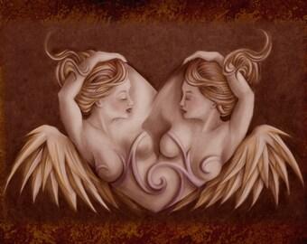 Love of Angels - romantic, lesbian, art print.