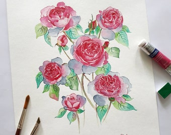 Pink Peonies watercolor painting original - wall art deco home decor watercolour interior design