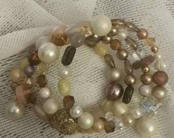 Beaded Wrap Bracelet in Neutral Shades