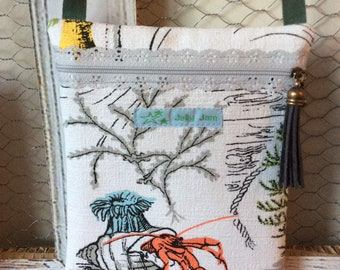 Vintage barkcloth fabric festi bag purse - hermit crab