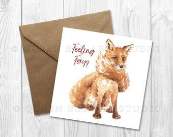 Fox anniversary card, fox greetings card, fox I love you card, cute fox card, fox valentine card, fox love card, woodland theme card