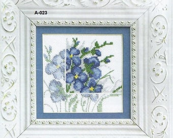 Counted cross stitch kit Blue flowers