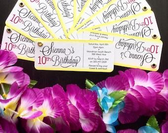 Lei Invitation, Luau Invitation, Birthday Party Invitation, Summer Party Idea: Set of 25