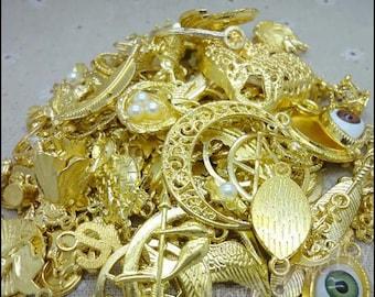 80 grams Assorted Gold Tone Metal Alloy Charm Pendants Nickel Free AZ471