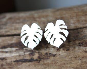 Monstera leaf earrings, sterling silver stud earrings, nature jewelry, palm leaf earrings, tropical jewelry, houseplant gift for gardener