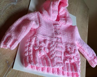 Handknit Baby Cardigan, Handknitted Baby Clothes, Baby Girl, Baby Girl Clothes, Baby Girl Gift, Pink Knit Cardigan, Baby Hooded Jacket