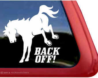"Back Off! | DC575SP1L | High Quality Adhesive Vinyl Window Decal Sticker - 5"" tall x 5"" wide"