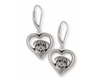 Pug Earrings Jewelry Sterling Silver Handmade Dog Earrings PG34-E