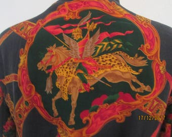 Womens Silk Jacket / Warmer Jacket / Jacket Vintage / Women's Jacket / Pattern Horses / Jacket Size UK16