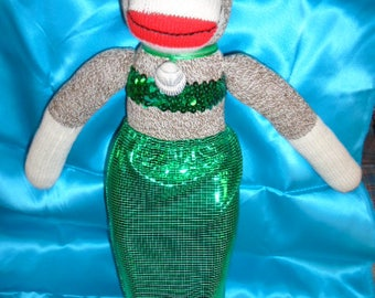 Little Merry Mermaid Sock Monkey Doll Green Or Turquoise Outfit With Extra Skirt