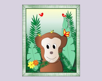 Jungle Monkey Wall Art Decor for Kids Room or Baby Nursery Gift, Print Only (JMonkey05)