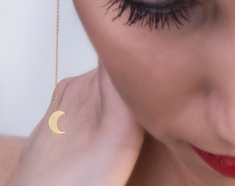 Crescent moon earrings,  Solid gold earrings,  Chain moon earrings, Moon jewelry,  Crescent earrings,   Minimalistic jewelry,